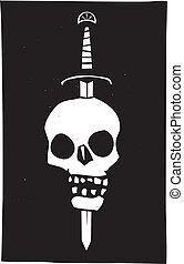 Skull Impaled on a Sword Dark - Woodcut style image of a...