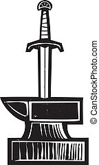 Sword in the Stone - Woodcut image of King Arthurs Sword in...