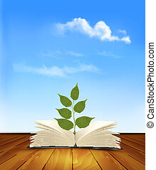 Green tree growing from open book. Vector.