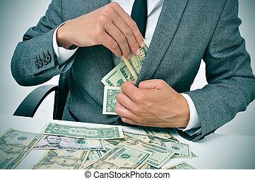 homme, complet, obtenir, dollar, Factures, sien, veste