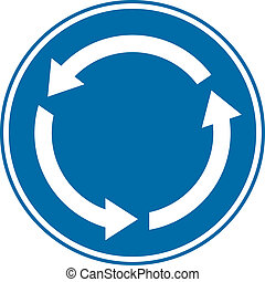Roundabout crossroad road traffic sign on white background.