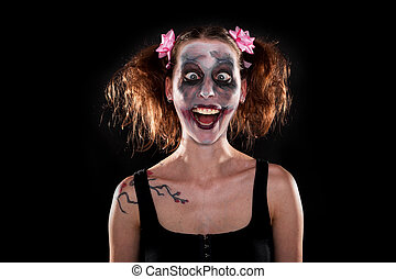 insane female clown in front of black - insane funny female...