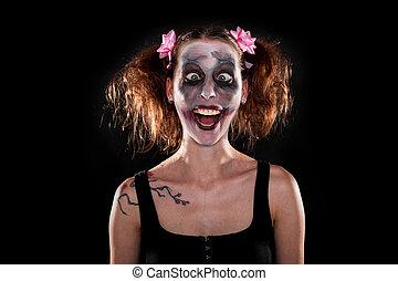fou, devant, noir, femme,  clown