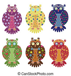 Set of six colourful funny owls over white - Set of six...