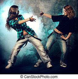 niñas, dos, bailando