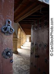 Cloister in Las Duenas convent. Salamanca, Spain - Detail...