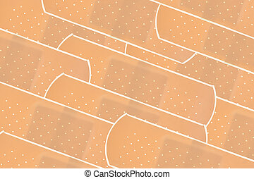 Layer of sticky bandages - A layer of sticky bandages in...