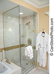 Luxury Hotel Shower and Robe - A nice shower and robe in a...