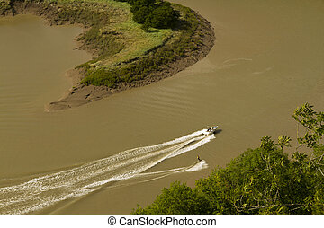 Water Skiing on the River Wye, Wintour's Leap.