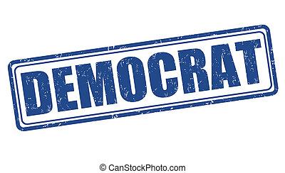 Democrat stamp - Democrat grunge rubber stamp on white,...