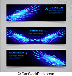Fire banners - Mystic banners with blue flaming wings for...