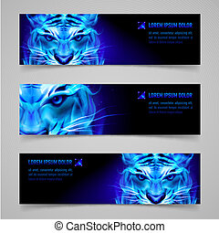 Flaming force - Set of banners with mystic tiger in blue...