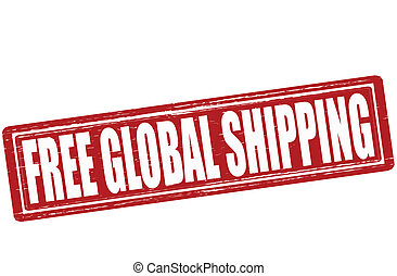 Free global shipping - Stamp with text free global shipping...