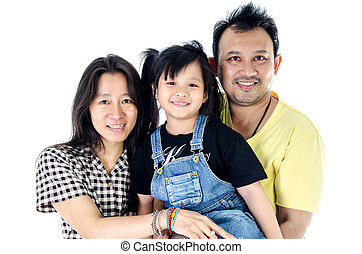 Happy Asian family - isolated over white - Happy asian...