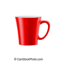 Cup - Red cup with tapered bottom stay on white background