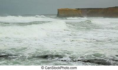 Ocean waves - Huge waves of the ocean hitting the shore