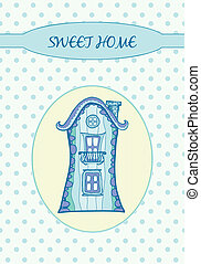 Sweet home - Card - Sweet home on the dots Hand drawn...