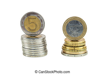 Stack of polish zloty and euro coins isolated on white...