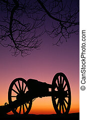 War Memorial Wheeled Cannon Military Civil War Weapon Dusk -...