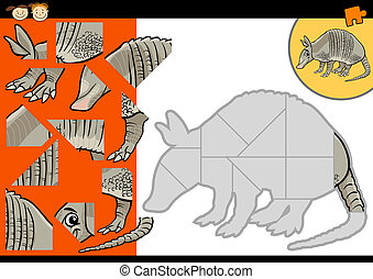 cartoon armadillo jigsaw puzzle game - Cartoon Illustration...