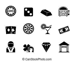 casino and gambling icons - Silhouette casino and gambling...