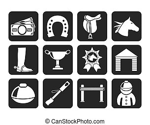 Horse Racing icons - Silhouette Horse Racing and gambling...
