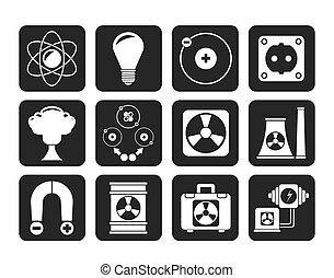 Atomic and Nuclear Energy Icons - Silhouette Atomic and...