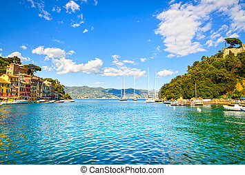 Portofino luxury village landmark, bay view Liguria, Italy -...