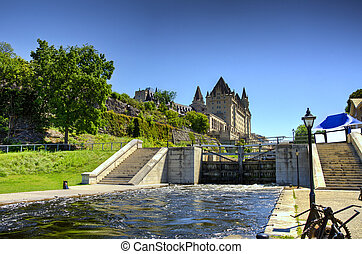 The rideau canal in Ottawa Sunny summer day