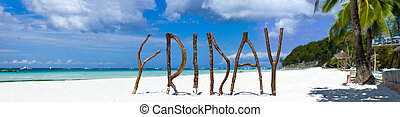 Tropical beach panorama - Panorama of postcard perfect...