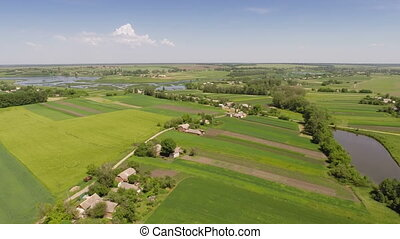 Village with a birds-eye view - Aerial shot: Village with a...