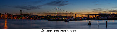 Panorama of Angus L Macdonald Bridge that connects Halifax...