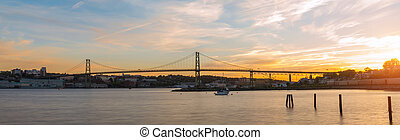 Panorama of Angus L Macdonald Bridge at sunset - Panorama of...