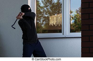 cambrioleur, tries, Fracas, fenêtre