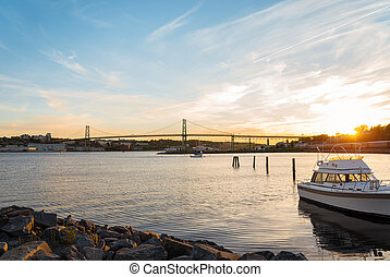 Angus L Macdonald Bridge at sunset - Angus L Macdonald...