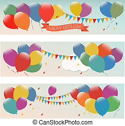 Holiday banners with colorful balloons. Vector.