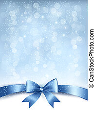 Blue elegant holiday background with gift bow and ribbon. Vector