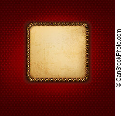 Vintage background with old paper and red wall. Vector illustrat