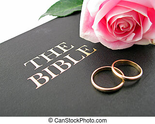 bible rose rings - one pink rose and two wedding bands on...