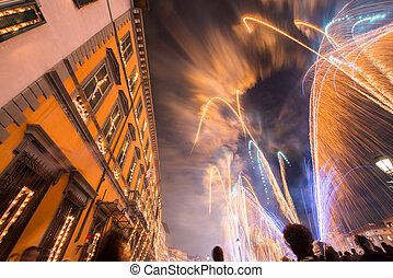 Pisa, Italy Sky illuminated by fireworks during famous San...