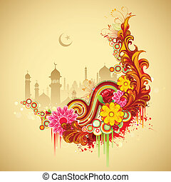 Eid Mubarak (Happy Eid) background - illustration of Ramadan...