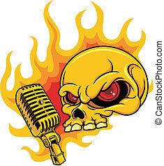 skull with microphone