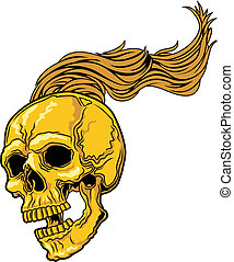 long hair skull - vector illustration of yellow skull with...