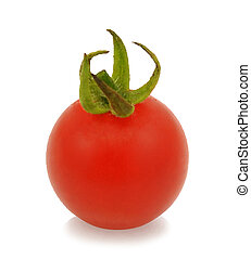 red ripe tomato with drops isolated on white