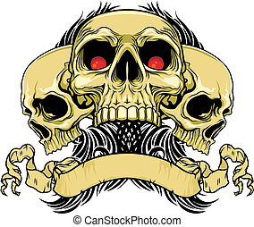 triple skulls - vector illustration of three red eyes skulls...