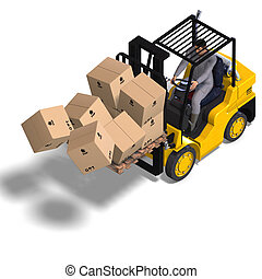 Forklift - rendering of an accident with a forklift. With...
