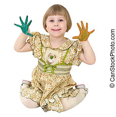Little girl with multicolored palms
