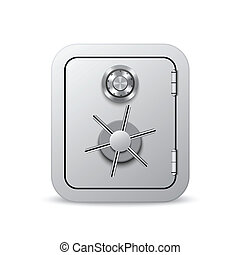 Security safe with combination lock wheel, isolated on white