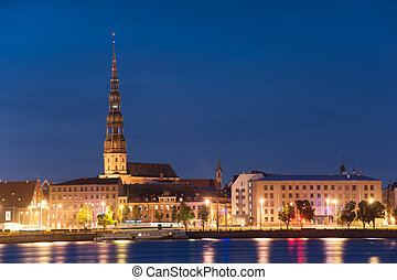 Riga - Skyline of Riga seen across the river Daugava after...
