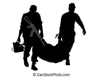 Two soldier - Soldier in uniform with gun on white...